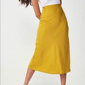 Cotton On • Silky Yellow Midi Skirt (Size Small)